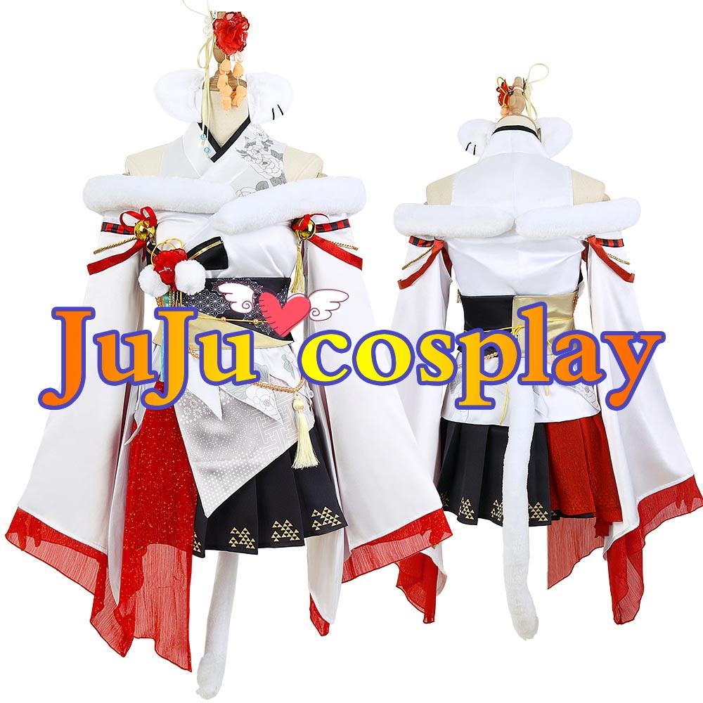 画像1: 一部在庫 バーチャル ホロライブ5期生 お正月衣装 獅白ぼたん コスプレ衣装 (1)